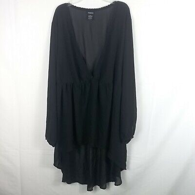 3X Torrid Sheer Black Hi Lo Hem Empire Waist Maxi Blouse Shirt