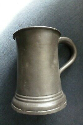 w GOOD UNCOMMON ANTIQUE EARLY VICTORIAN PEWTER PINT TANKARD