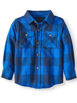 NEW Toddler Boys Heathtex Blue Plaid Soft Flannel Button Down Shirt Size 4T