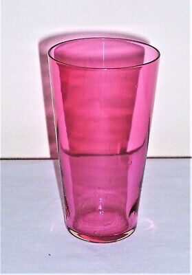 Antique C1890 Late Victorian Hand Made Cranberry Glass Wine Glass