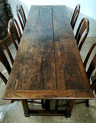Antique French Provincial Oak 8 To 10 Seater Dining Table