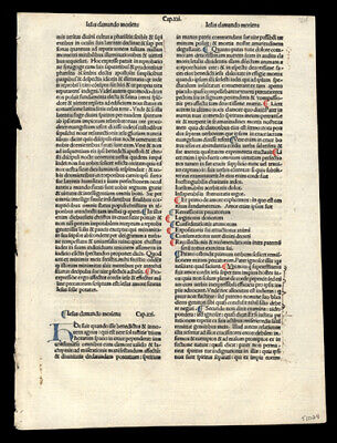 1485 Rare Incunable Leaf  Lot (2)  Hand-Colored Letters The Passion of Christ