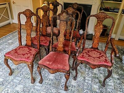 EXCELLENT RARE Set Of 7 Dutch Inlaid mahogany Dining Chairs (18th And 19th C)