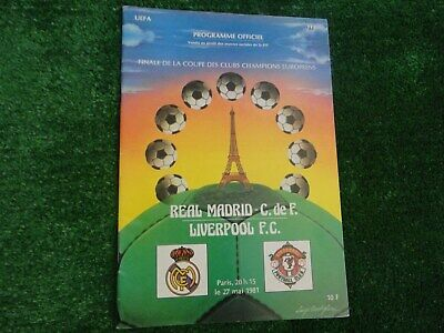 1981 - EUROPEAN CUP FINAL PROGRAMME - REAL MADRID v LIVERPOOL