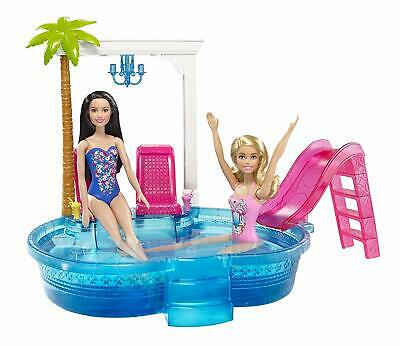 Barbie Glam Pool Playset Doll Swimming Pink Slide Near The Beach Palmtree Kids