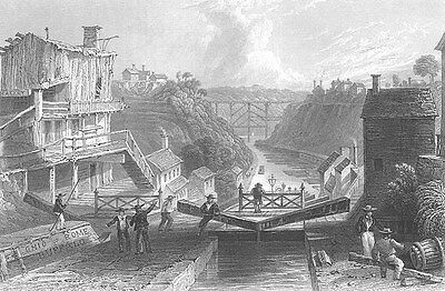 LOCKPORT, LAKE ERIE BOAT SHIP CANAL RAILROAD BRIDGE ~ 1838 Art Print Engraving