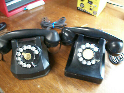 2- Vintage Telephones  Western Electric Rotary Dial Bell Systems Black  Phone