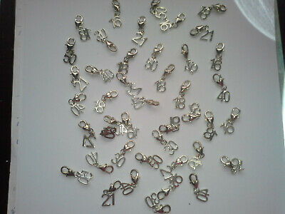 43 Number Charms On  Lobster Clasps