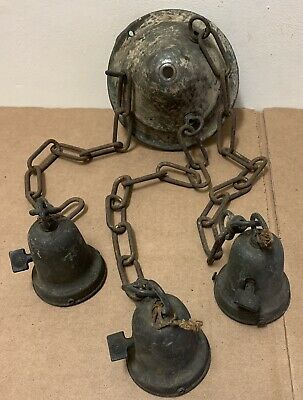 Hanging Gothic chandelier antique chain link bell dome cluster lights brass