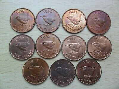 11 x George VI farthing coins different dates all EF - aUNC with lustre 1939-52