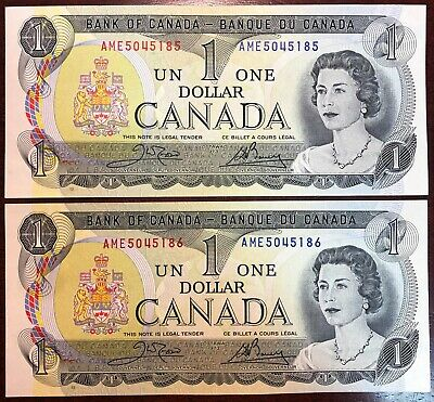 Lot of 2x Canada 1973 $1 One Dollar Bills - Crisp UNC Consecutive Serial Numbers
