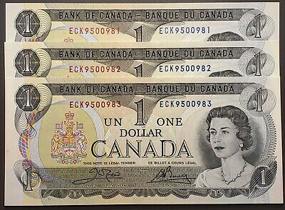 Lot of 3x 1973 Bank of Canada $1 One Dollar Bills, Crisp UNC Consecutive Serials