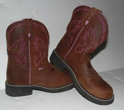 fccd5bdc2c8 WOMEN'S JUSTIN GYPSY Pink Suede and Brown Leather Cowgirl / Cowboy ...