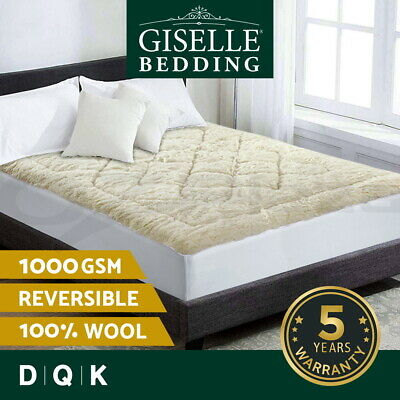 Giselle Bedding Wool Underlay Mattress Topper Underblanket Cotton Reversible