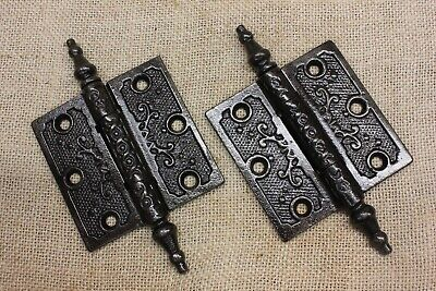 "2 Door Hinges 3 X 3"" old antique steeple top pins shooting vine vintage restored"