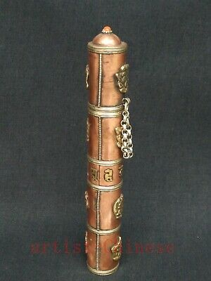 Collection Old China Tibet Copper Inlay Auspicious symbol Incense Barrels Box