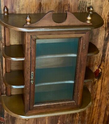 Antique Wood Mirror And Glass Wall Display Curio Cabinet Spice Rack , 9 SHELVES