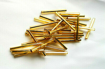 """Czech 1"""" GOLD STRAIGHT/Round look square GLASS TUBE BUGLE BEADS 110+ beads."""