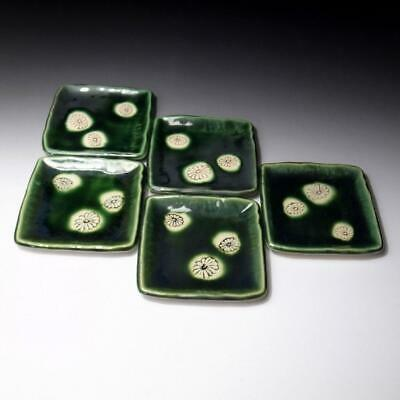 XC2: Japanese 5 Pottery Tea Plates, Oribe Ware, Tea ceremony, Flower
