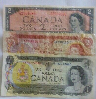 Lot of 3 Canadian Paper Money Notes Currency 1973 $1 dollar 1954 1974 $2 dollars