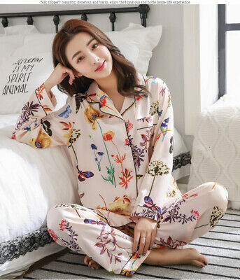 Women Luxury Silk Satin Pajama Sets Long Sleeve Print Pyjamas Sleepwear Homewear