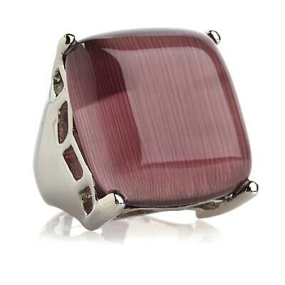 HSN Square Cut Simulated Amethyst Bold Cabochon Ring by Stately Steel Size 8