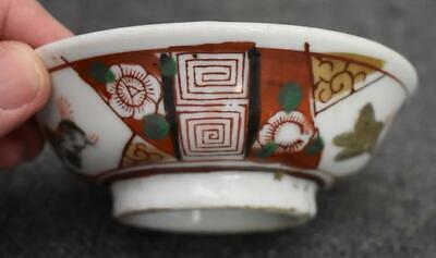 Antique Japanese Export Hand Painted Imari Porcelain Round Soy Sauce Dish