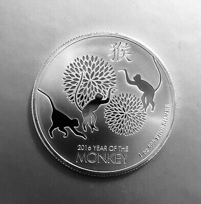 1 oz YEAR OF THE MONKEY 2016 Affe Silber - Niue two dollars