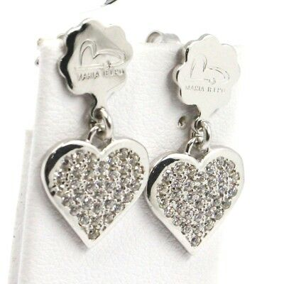 Drop Earrings 925 Silver, Hearts Plates, Zircon, by Mary Jane Ielpo