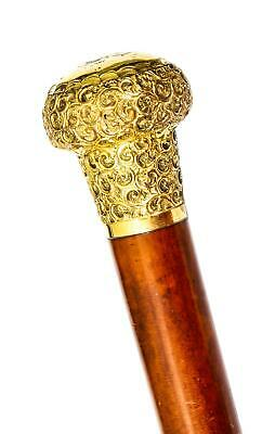Antique Walking Stick Cane with Domed Ormolu Pommel 19th century