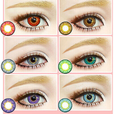 Colored Cosmetic Contact Lenses 0 Degree Women Yearly Use Makeup Eyewear Nice
