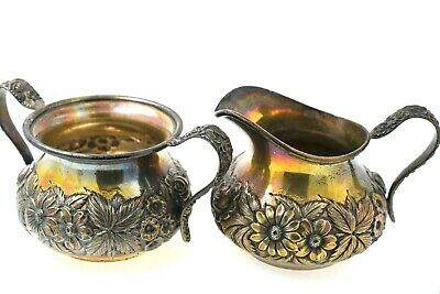 S. Kirk & Son Sterling Silver Floral Repousse Hand Decorated Creamer & Sugar #41