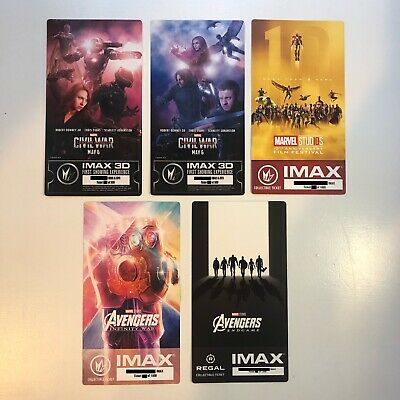 Marvel's Avengers Infinity War Endgame IMAX Ticket 5 Set - Captain America Hulk