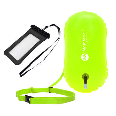 Safety Open Swim Buoy Tow Float Inflated Buoyance& Dry Phone Case Holder