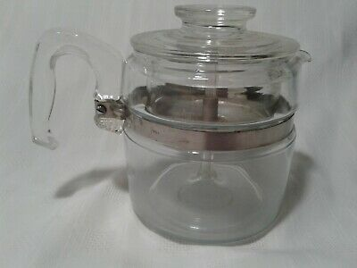 Vintage Pyrex 4 Cup Glass Stovetop Coffee Percolator Pot Blue Tint Camp Home