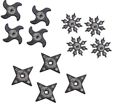 Ninja Martial Arts Rubber Foam Throwing Stars Practice Shuriken-SET of 12-SILVER