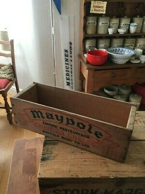 Vintage Wooden Advertising Storage Box / Crate – Maypole Cheddar Cheese – Great!