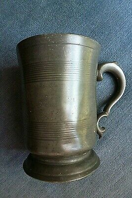 w SUPERB VICTORIAN PEWTER PINT FOOTED TANKARD EDWARD COWLES DEPTFORD HOUNSLOW