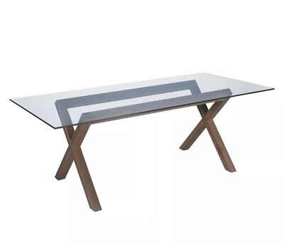 Habitat DUBLIN 8 Seater Walnut Stain & Glass Dining Table RRP £425