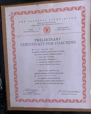 Cyril Done Liverpool FC FA Coaching Certificate Signed Walter Winterbottom