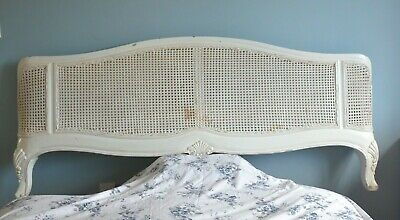 French Chic Handmade Curved Distressed White Wood Cane Rattan Super King Bed