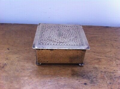 SMALL DECORATIVE ANTIQUE PUNCHED BRASS BOX - WOODEN LINED - 4 by 3.75 inches