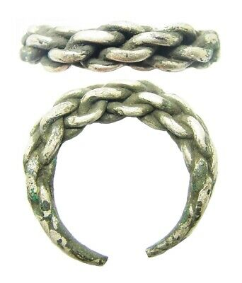 10th - 11th century A.D. Viking Scandinavian braided silver finger ring size 11