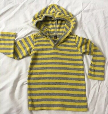 Tea Collection Boys 6-12 Month Hooded Shirt Yellow Gray Striped