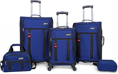 5 Piece Spinner Luggage Set Coleman Utility Travel Suitcases Carry On Bag BLUE