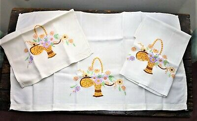 Set Of 3 Vintage 1930'S-1940'S English Hand Embroidered Panels: Flower Baskets