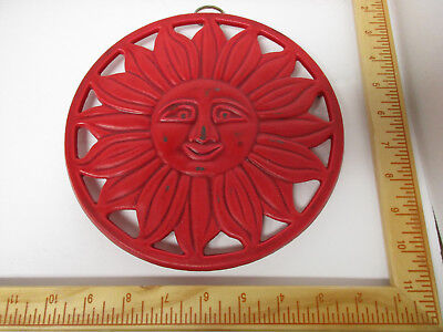 "Heavy Rod Iron 10"" Round Red Trivet, Wall Hanger Sun, Detailed Piece, Sun Shines"