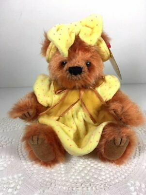Vintage Ty Teddy Bear with a yellow Beanie Baby dress & headband! Brown Tag.