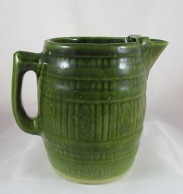 Antique Stoneware Pottery Large Green Barrel Water Pitcher with Ice Lip