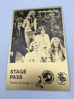 1970's YES Stage Pass - Concert Productions Int. - NOS